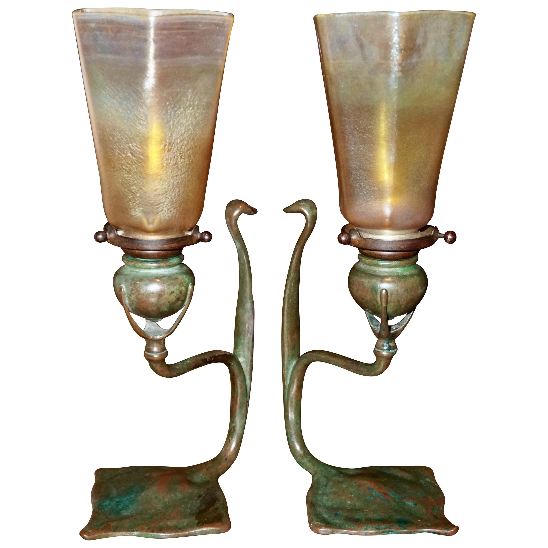 Pair Tiffany Studios Cobra Bronze Candlesticks with L.C.T. Favrile Lamp Shades