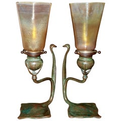 Pair Tiffany Studios Cobra Bronze Candlesticks with L.C.T. Favrile Lamp Shades