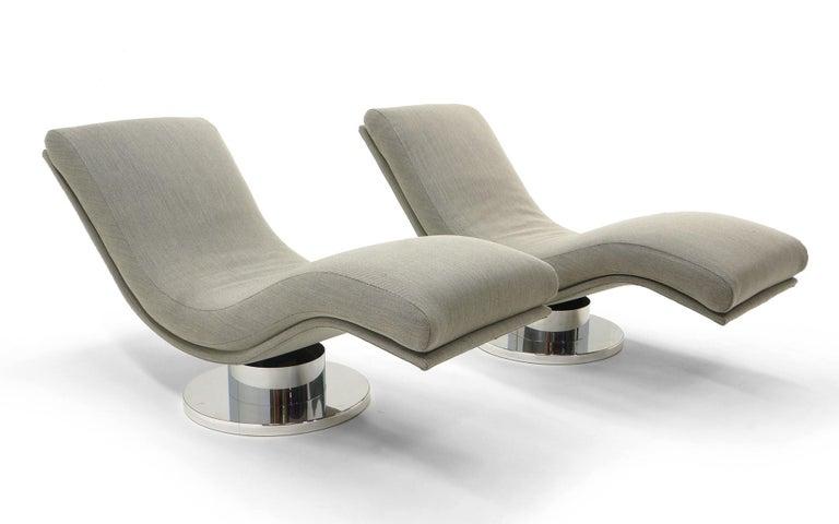 "beautiful swivel club chairs | Pair Tilt Swivel ""Wave"" Chaise Lounge Chairs, Milo ..."