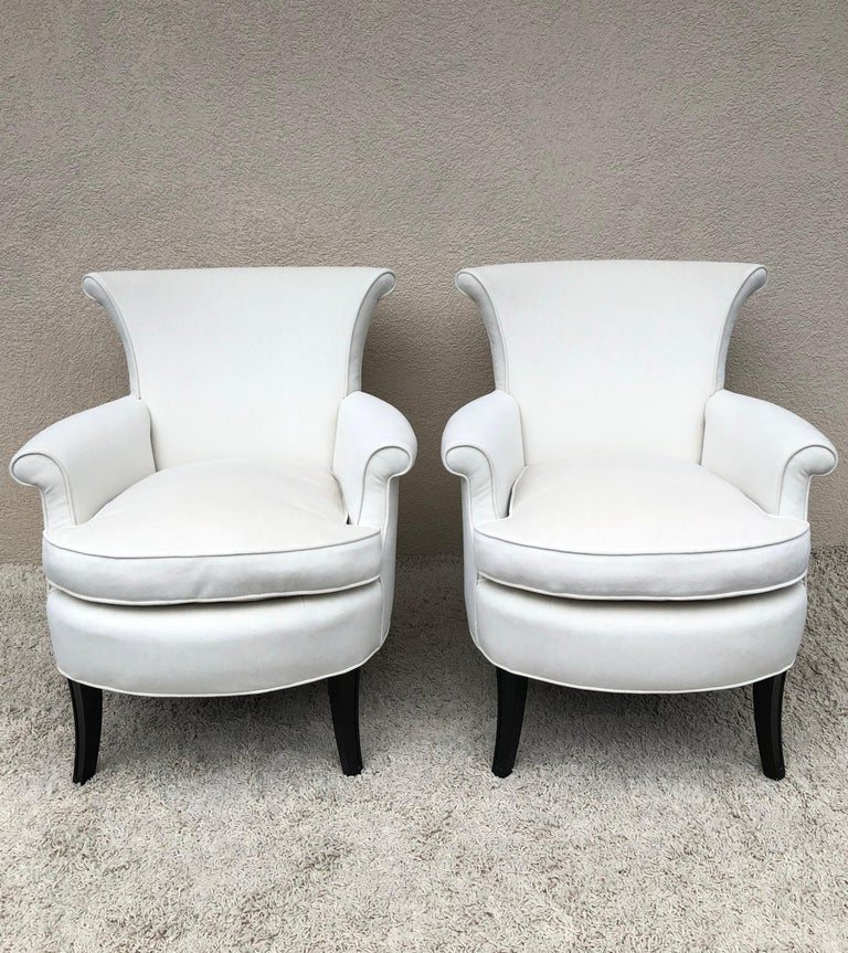 Mid-Century Modern Pair of Tommi Parzinger Petite Slipper Chairs/ Club Arm Chairs For Sale