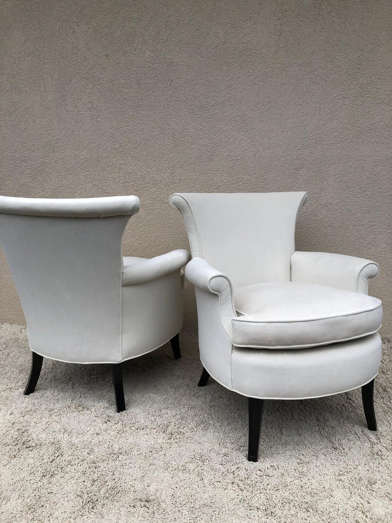 American Pair of Tommi Parzinger Petite Slipper Chairs/ Club Arm Chairs For Sale