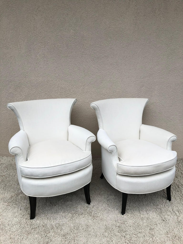 Lacquered Pair of Tommi Parzinger Petite Slipper Chairs/ Club Arm Chairs For Sale