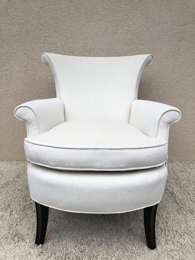 Pair of Tommi Parzinger Petite Slipper Chairs/ Club Arm Chairs In Excellent Condition For Sale In Westport, CT
