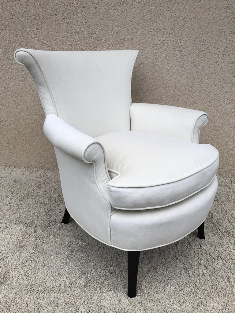 20th Century Pair of Tommi Parzinger Petite Slipper Chairs/ Club Arm Chairs For Sale