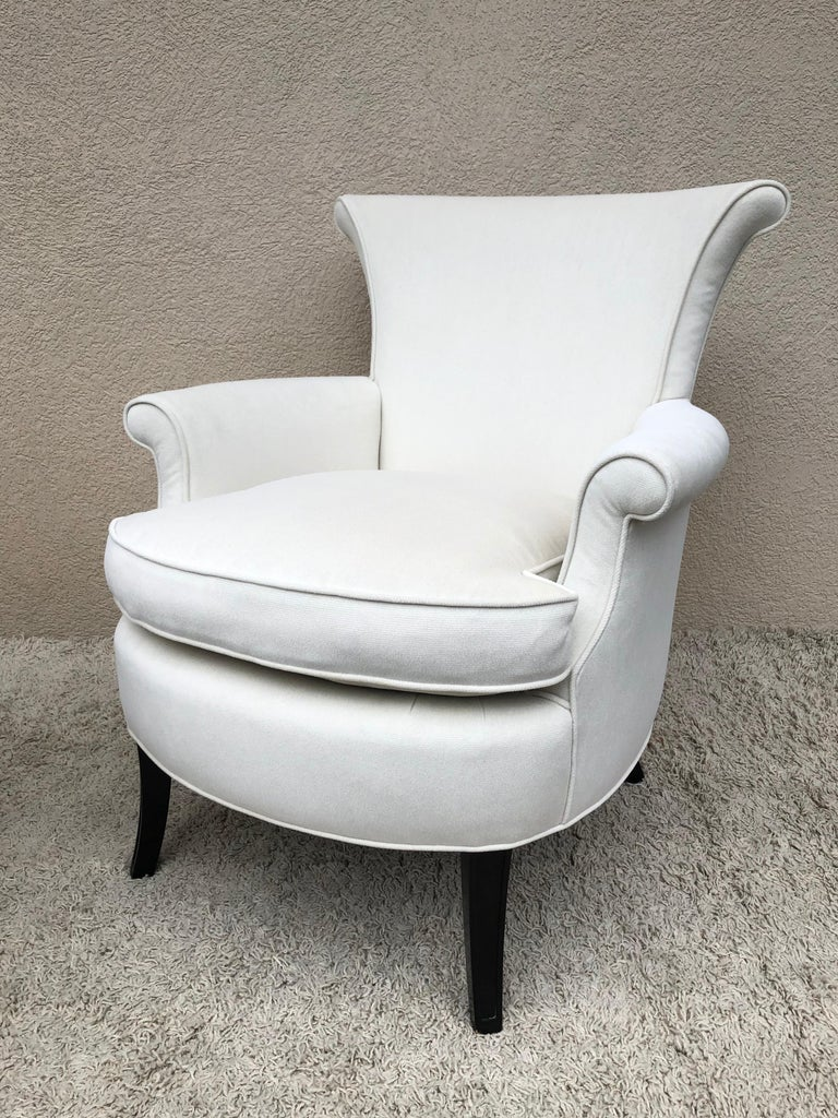 Fabric Pair of Tommi Parzinger Petite Slipper Chairs/ Club Arm Chairs For Sale