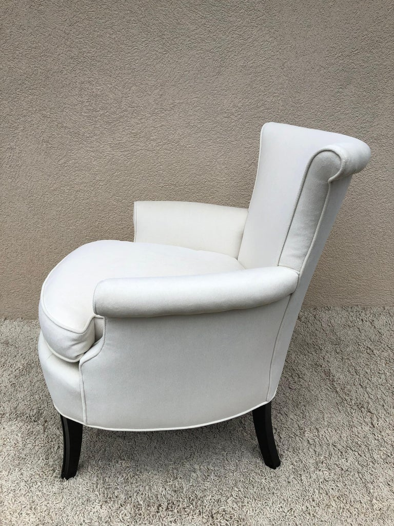 Pair of Tommi Parzinger Petite Slipper Chairs/ Club Arm Chairs For Sale 1
