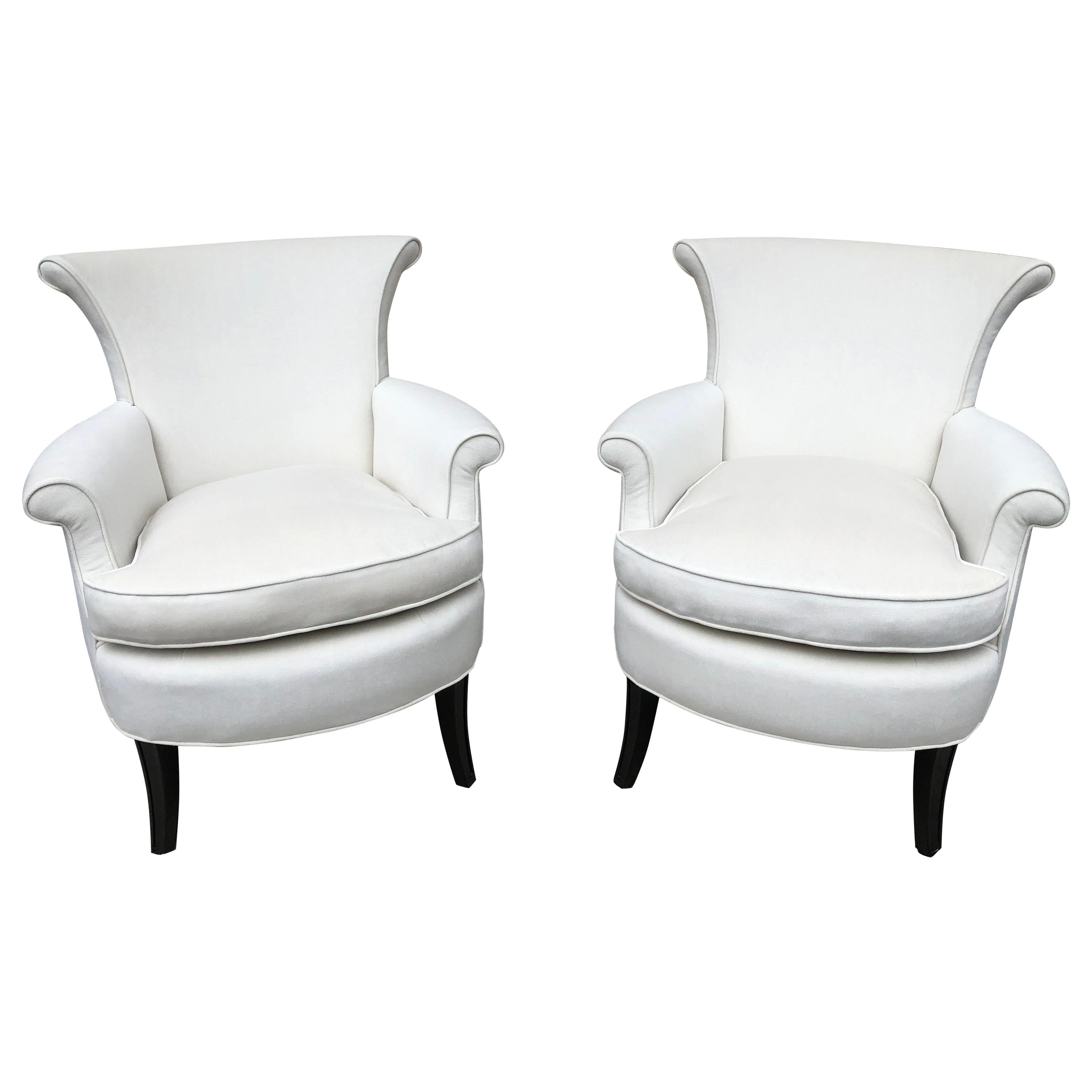 Pair of Tommi Parzinger Petite Slipper Chairs/ Club Arm Chairs