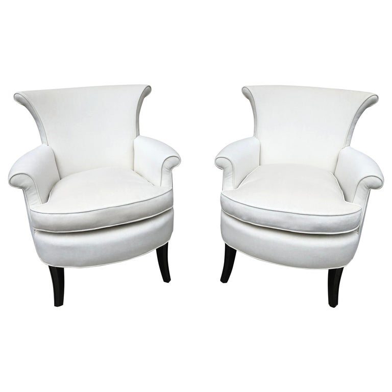 Pair of Tommi Parzinger Petite Slipper Chairs/ Club Arm Chairs For Sale