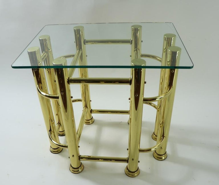 Pair of Tubular Brass and Glass End Tables For Sale 4