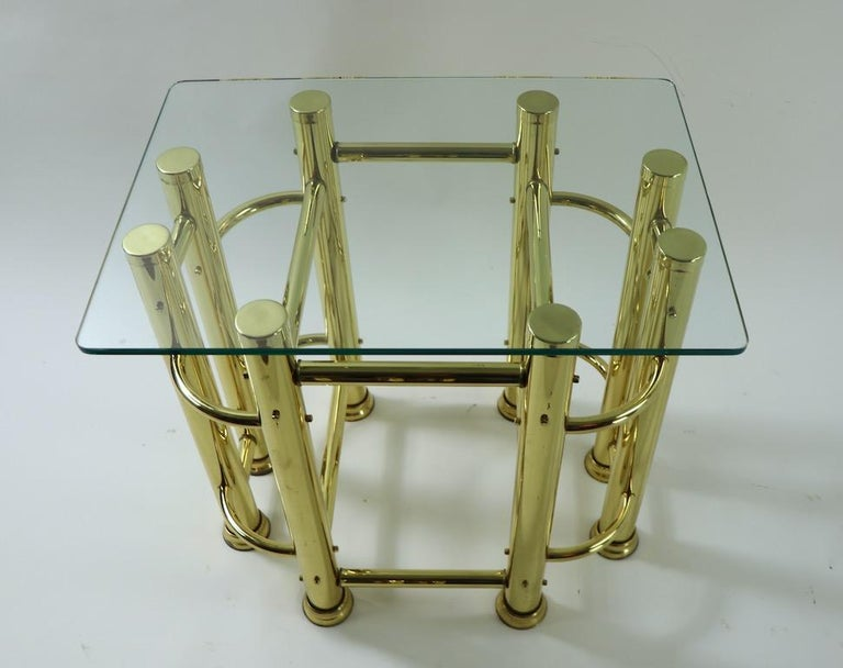Pair of Tubular Brass and Glass End Tables For Sale 5