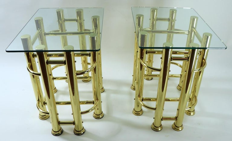 Pair of Tubular Brass and Glass End Tables For Sale 6