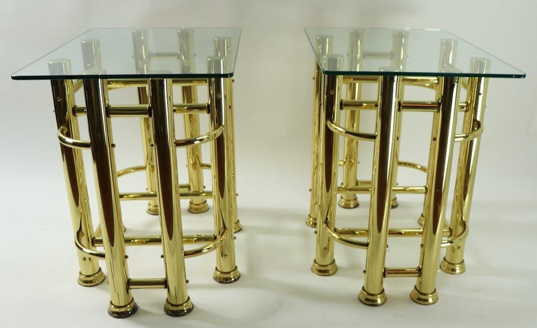 Pair of Tubular Brass and Glass End Tables For Sale 7