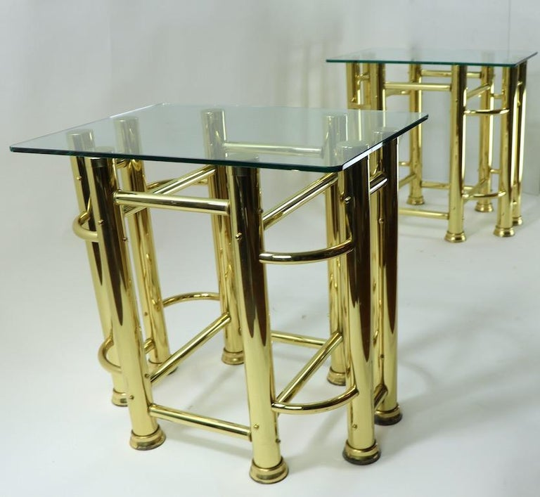 Pair of Tubular Brass and Glass End Tables For Sale 9