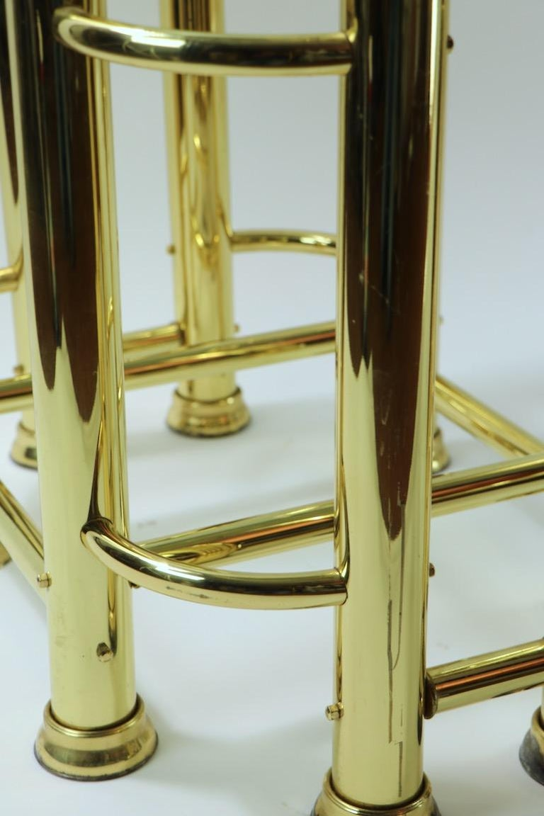 Pair of Tubular Brass and Glass End Tables For Sale 11
