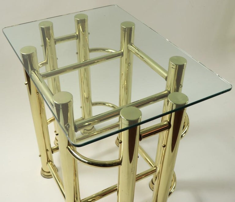 Pair of Tubular Brass and Glass End Tables For Sale 13