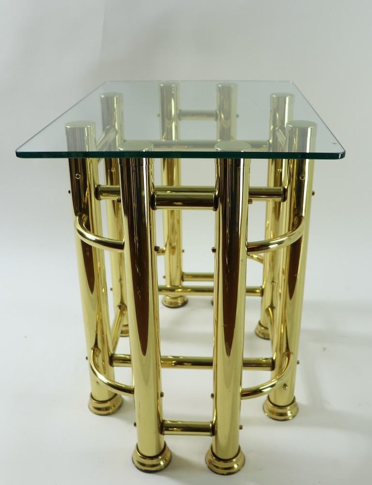Mid-Century Modern Pair of Tubular Brass and Glass End Tables For Sale