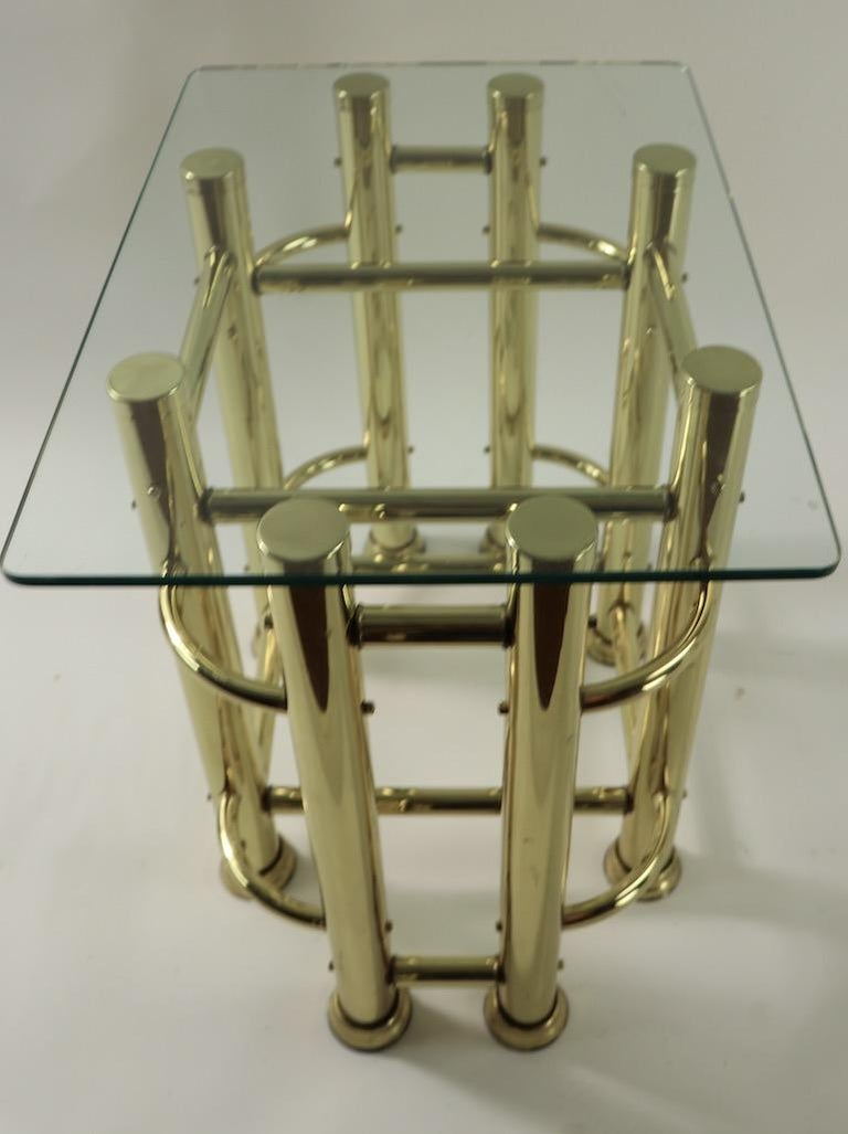 American Pair of Tubular Brass and Glass End Tables For Sale