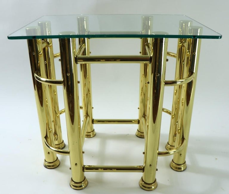Pair of Tubular Brass and Glass End Tables In Good Condition For Sale In New York, NY