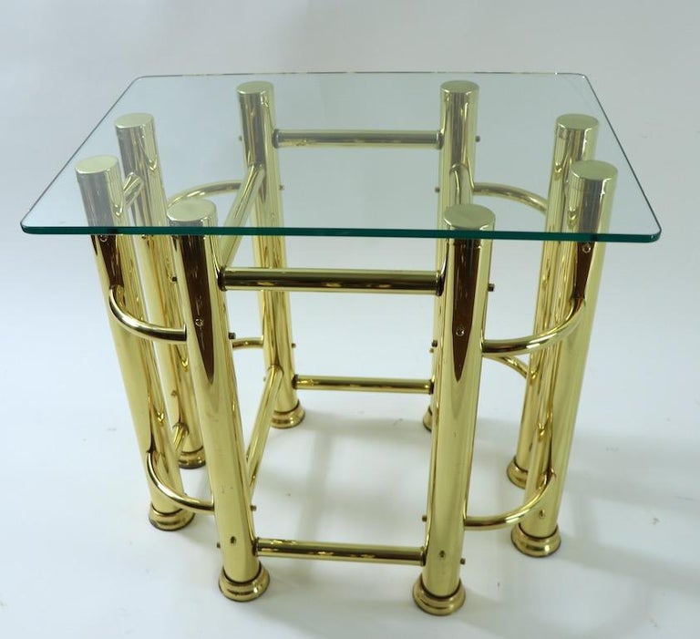 Mid-20th Century Pair of Tubular Brass and Glass End Tables For Sale