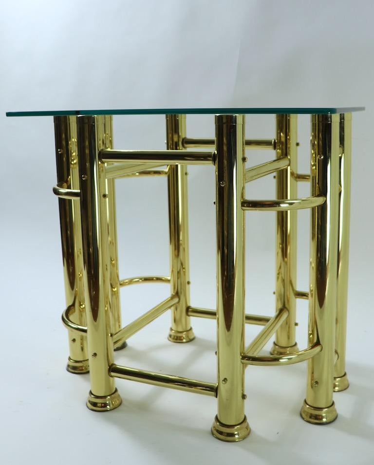 Pair of Tubular Brass and Glass End Tables For Sale 1