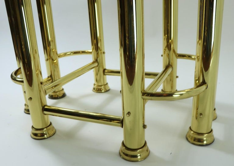 Pair of Tubular Brass and Glass End Tables For Sale 2
