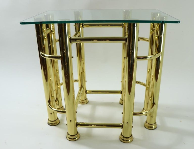 Pair of Tubular Brass and Glass End Tables For Sale 3