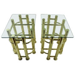 Pair of Tubular Brass and Glass End Tables