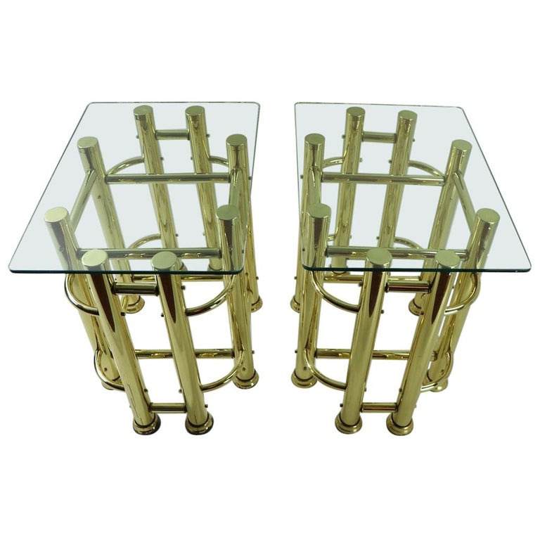 Pair of Tubular Brass and Glass End Tables For Sale