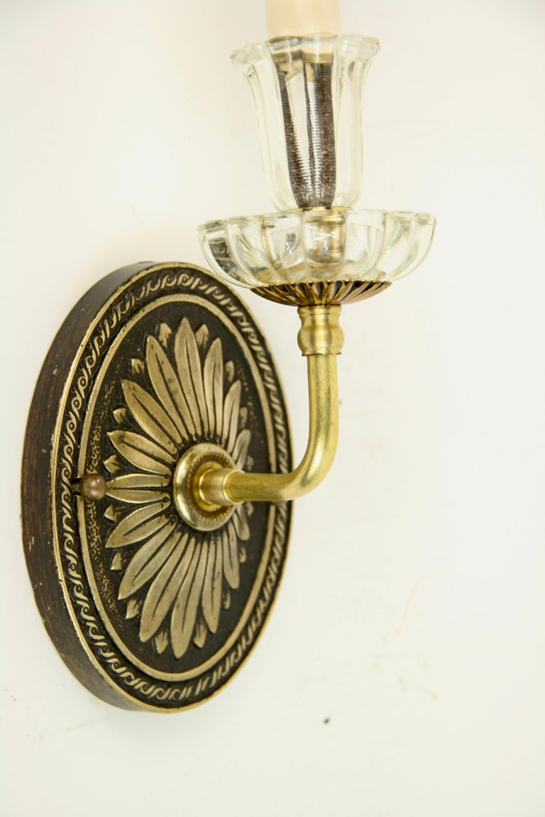 Pair of Tulip Glass Darkened Brass Sconces In Good Condition For Sale In Douglas Manor, NY