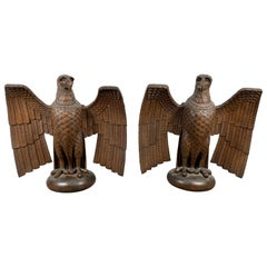 Pair of Turn of the Century Hand Carved Oak Eagles, Stylized