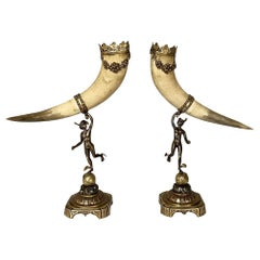 Pair of Turn-Of-The-Century Horn Trophies, Bookends