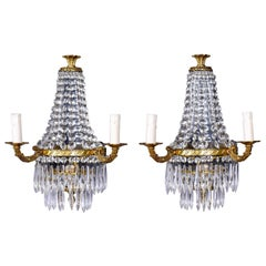 Pair of Two-Light Brass and Crystal Waterfall Sconces