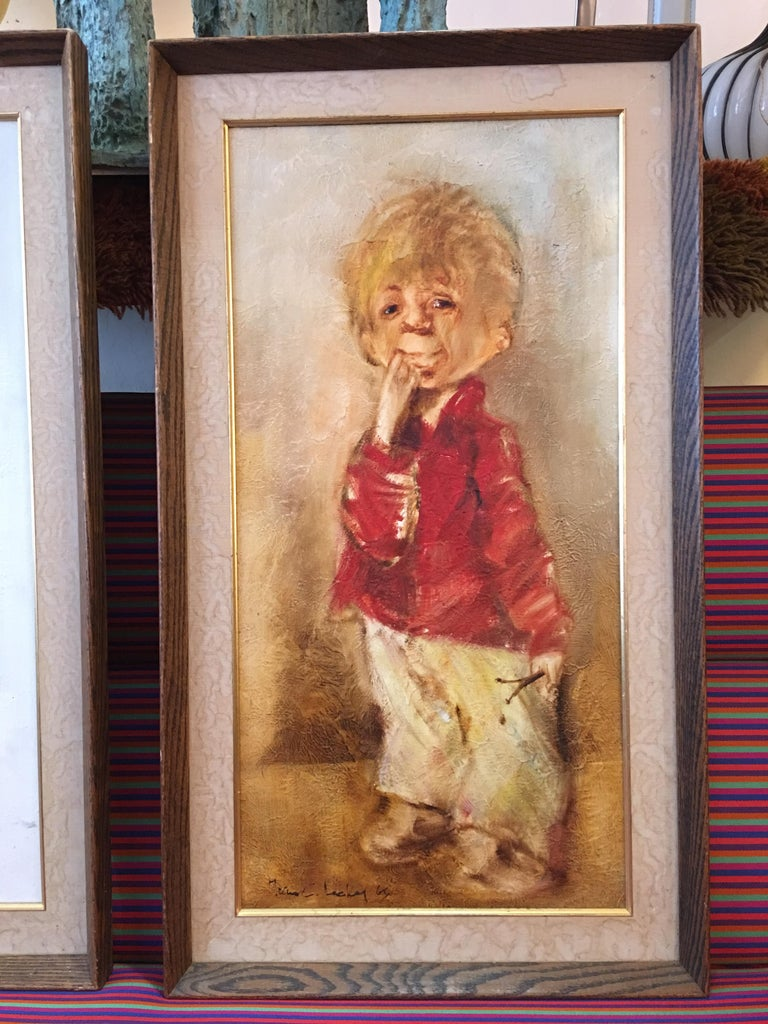 So ugly they are beautiful! 1960s portraits of a girl with a cart and a man/boy holding his hand up to his face! How could I leave them!