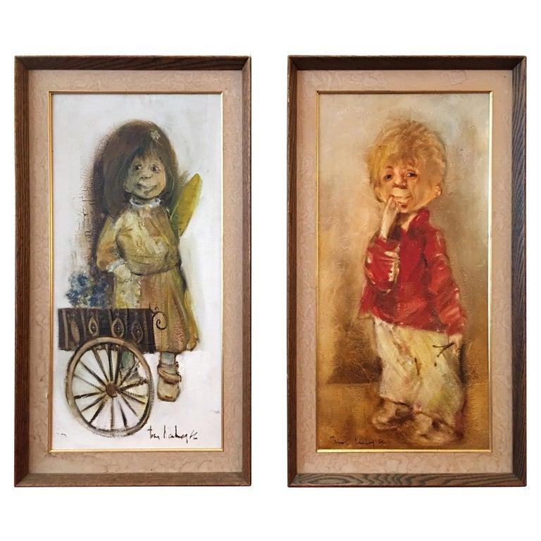 "Pair of ""Ugly People"" Decker Paintings For Sale"