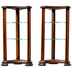 Pair of Unusual Walnut Stands with Glass Shelves