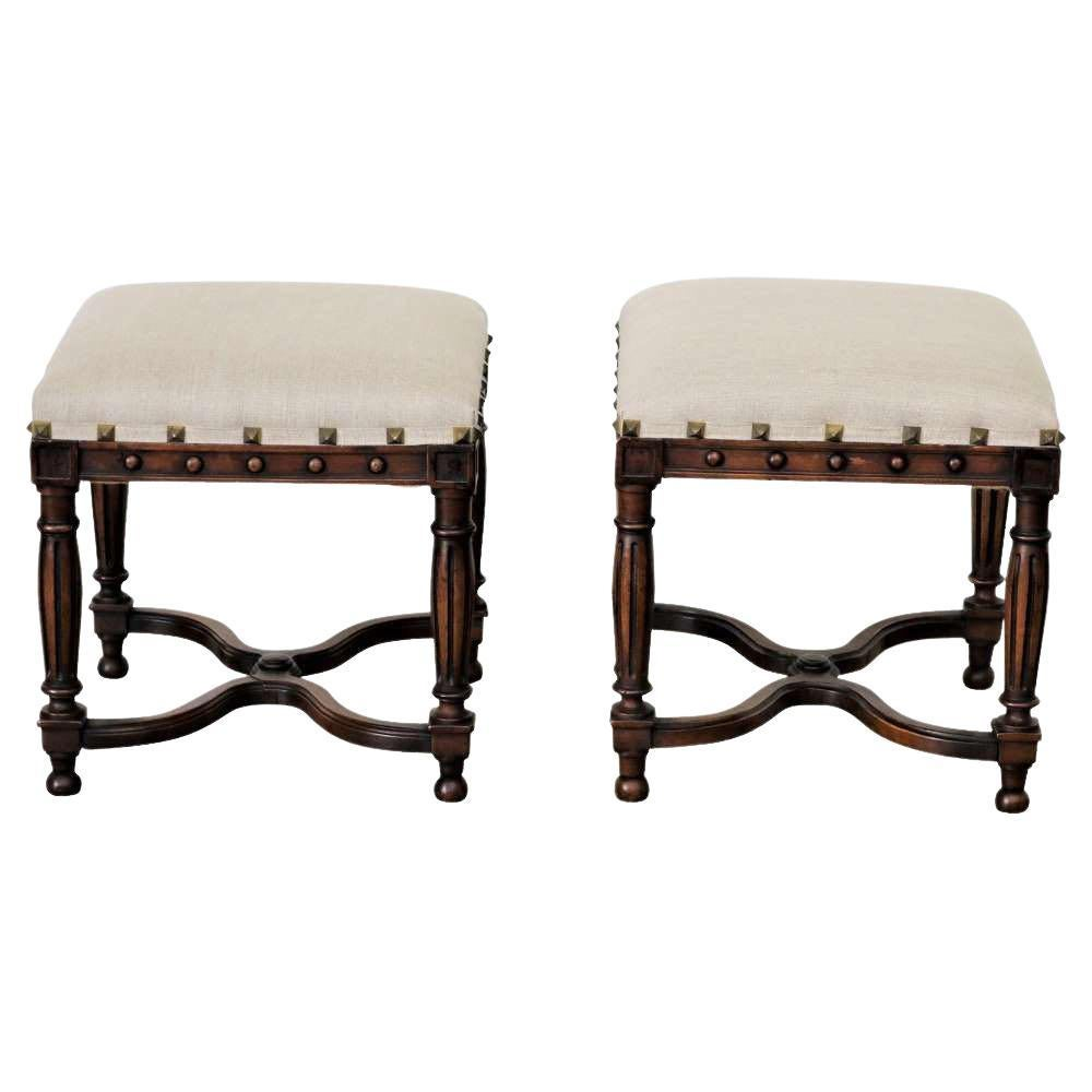 Pair Upholstered Foot Stools, England, 19th Century