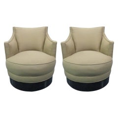 Pair of Upholstered Swivel Chairs Style of Milo Baughman