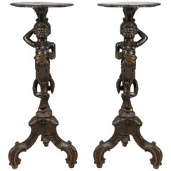 Pair Venetian carved Walnut Torchas, 19th Century