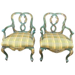 Pair of Venetian Chinoiserie Polychrome Armchairs