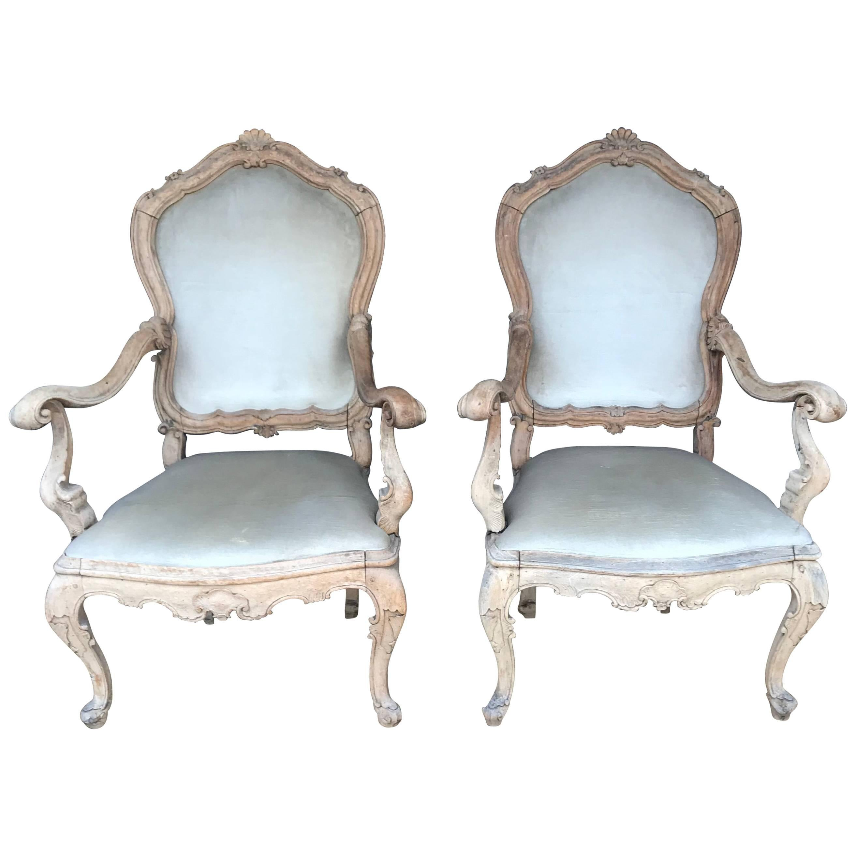 Pair Venetian Louis XV Armchairs