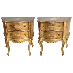 Pair of Venetian Rococo Style Gilt Painted Commodes