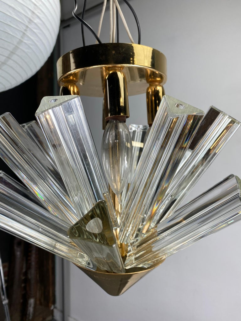 Pair Venini Triedri Prisms Flush Mount Hanging Pendant Chandelier/Murano, Italy In Good Condition For Sale In Buffalo, NY