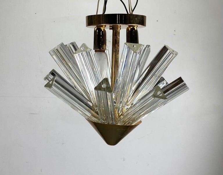Late 20th Century Pair Venini Triedri Prisms Flush Mount Hanging Pendant Chandelier/Murano, Italy For Sale