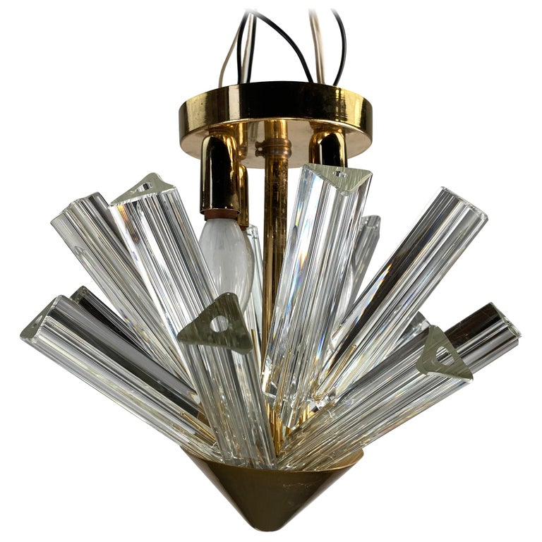 Pair Venini Triedri Prisms Flush Mount Hanging Pendant Chandelier/Murano, Italy For Sale