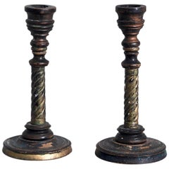 Pair Very Rare of Swedish Candlesticks in Carved Wood, circa 1800-1830
