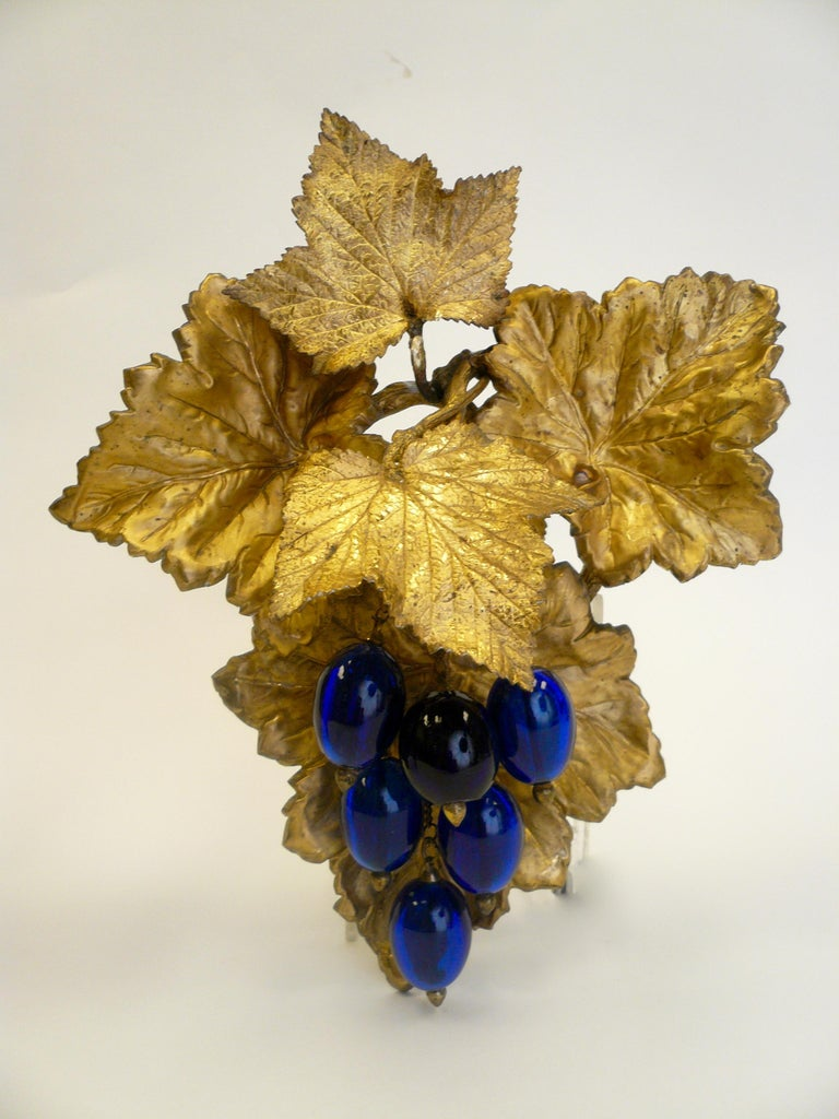 English Victorian Gilt Brass Curtain Tiebacks with Cobalt Blue Blown Glass Grapes, Pair For Sale