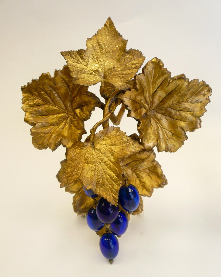 19th Century Victorian Gilt Brass Curtain Tiebacks with Cobalt Blue Blown Glass Grapes, Pair For Sale