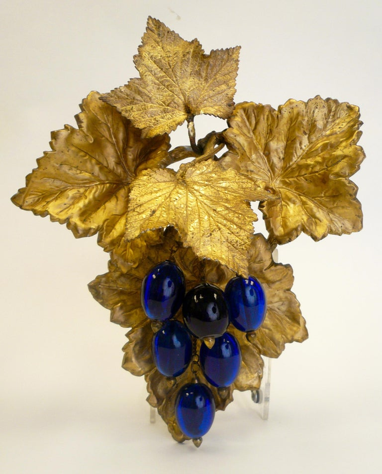 Victorian Gilt Brass Curtain Tiebacks with Cobalt Blue Blown Glass Grapes, Pair For Sale 1