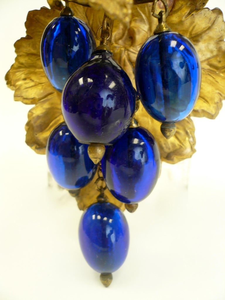 Victorian Gilt Brass Curtain Tiebacks with Cobalt Blue Blown Glass Grapes, Pair For Sale 2