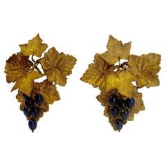 Victorian Gilt Brass Curtain Tiebacks with Cobalt Blue Blown Glass Grapes, Pair